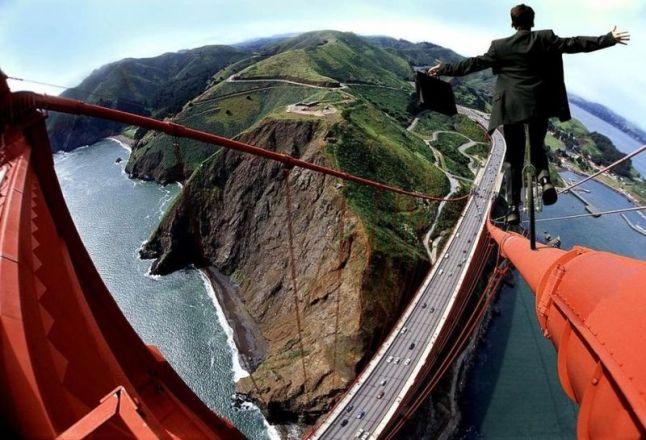 Cyclist on a bridge