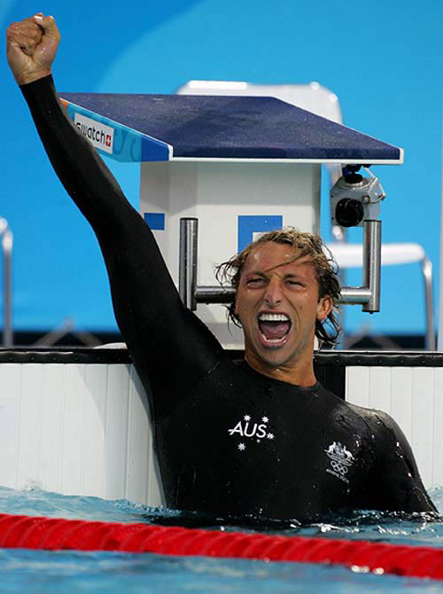 Ian Thorpe celebrating a win