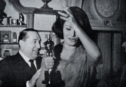 Joe Levine and Sophia Loren at the Oscars