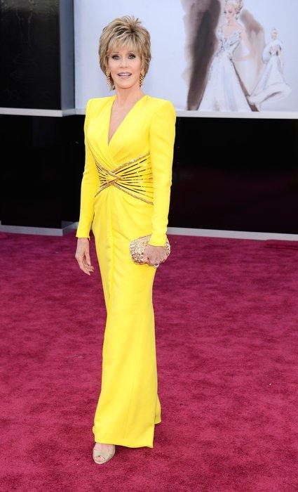 Jane Fonda in canary yellow