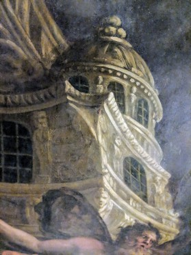 The architecture was painted first, to provide literal structure for the rest of the painting.